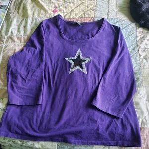 Michel Plus Size 2X Women's Purple 3/4 sleeve top